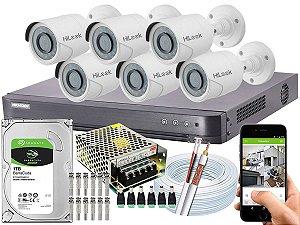 Kit CFTV Hikvision 06 Câmeras THC-B120C-P e DVR de 08 Canais DS-7208 HQHI-K1