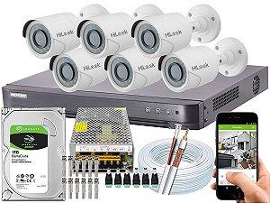 Kit CFTV Hikvision 06 Câmeras THC-B120C-P e DVR de 08 Canais DS-7208 HQHI-K1 10A