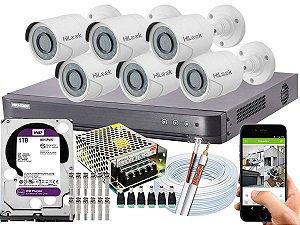 Kit CFTV Hikvision 06 Câmeras THC-B120C-P e DVR de 08 Canais DS-7208 HQHI-K1 1TB WD Purple