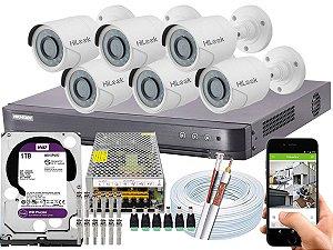Kit CFTV Hikvision 06 Câmeras THC-B120C-P e DVR de 08 Canais DS-7208 HQHI-K1 1TB WD Purple 10A