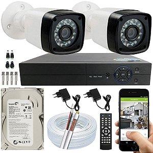 Kit CFTV 02 Câmeras EJCF-3200 e DVR de 04 Canais Multi HD 500GB