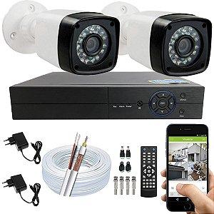 Kit CFTV 02 Câmeras EJCF-3200 e DVR de 04 Canais Multi HD S/ HD