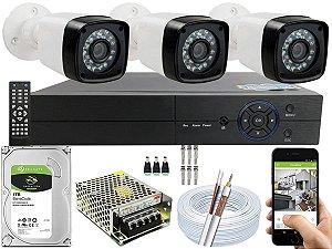 Kit CFTV 03 Câmeras EJCF-3200 e DVR de 04 Canais Multi HD 1TB
