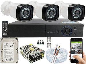 Kit CFTV 03 Câmeras EJCF-3200 e DVR de 04 Canais Multi HD 500GB