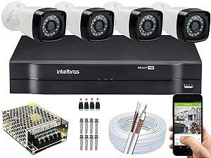 Kit CFTV 04 Câmeras EJCF-3200 e DVR de 04 Canais MHDX 1104 Sem HD