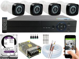 Kit CFTV 04 Câmeras EJCF-3200 e DVR de 04 Canais Multi HD 1TB WD Purple