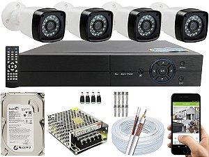 Kit CFTV 04 Câmeras EJCF-3200 e DVR de 04 Canais Multi HD 500GB