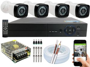 Kit CFTV 04 Câmeras EJCF-3200 e DVR de 04 Canais Multi HD S/ HD