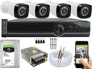 Kit CFTV 04 Câmeras EJCF-3200 e DVR de 08 Canais EJCF-9008T