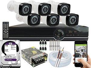 Kit CFTV 06 Câmeras EJCF-3200 e DVR de 08 Canais EJCF-9008T 1TB WD Purple