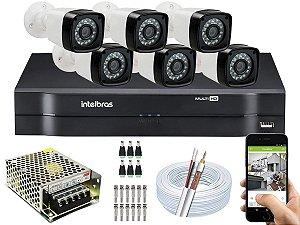 Kit CFTV 06 Câmeras EJCF-3200 e DVR de 08 Canais MHDX 1108 S/ HD