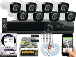 Kit CFTV 08 Câmeras EJCF-3200 e DVR de 08 Canais EJCF-9008T 2TB WD Purple
