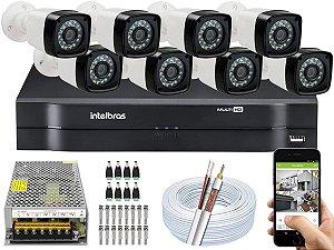 Kit CFTV 08 Câmeras EJCF-3200 e DVR de 08 Canais MHDX 1108 S/ HD