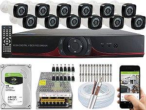 Kit CFTV 12 Câmeras EJCF-3200 e DVR de 16 Canais 9016T