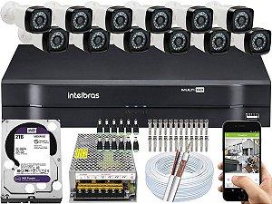 Kit CFTV 12 Câmeras EJCF-3200 e DVR de 16 Canais MHDX 1116 2TB WD Purple
