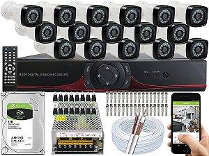 Kit CFTV 16 Câmeras EJCF-3200 e DVR de 16 Canais 9016T
