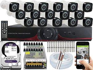 Kit CFTV 16 Câmeras EJCF-3200 e DVR de 16 Canais 9016T 2TB WD Purple