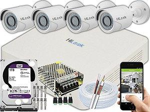 Kit CFTV Hilook 04 Câmeras THC-B110C-P e DVR de 04 Canais DVR-104G-F1 1TB WD Purple