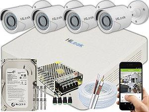 Kit CFTV Hilook 04 Câmeras THC-B110C-P e DVR de 04 Canais DVR-104G-F1 500GB