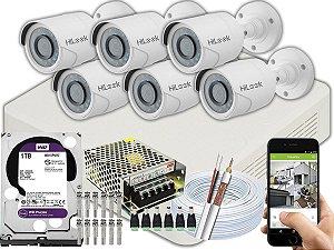 Kit CFTV Hilook 06 Câmeras THC-B110C-P e DVR de 08 Canais DVR-108G-F1 1TB WD Purple