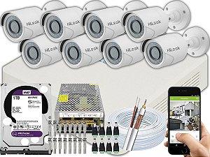 Kit CFTV Hilook 08 Câmeras THC-B110C-P e DVR de 08 Canais DVR-108G-F1 1TB WD Purple