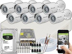 Kit CFTV Hilook 08 Câmeras THC-B110C-P e DVR de 16 Canais DVR-116G-F1