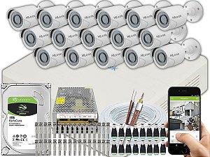 Kit CFTV Hilook 16 Câmeras THC-B110C-P e DVR de 16 Canais DVR-116G-F1