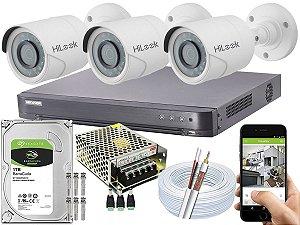 Kit CFTV Hikvision 03 Câmeras THC-B120C-P e DVR de 04 Canais DS-7204 HQHI-K1 1TB