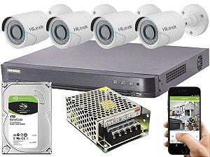 Kit CFTV Hikvision 04 Câmeras THC-B120C-P e DVR de 04 Canais DS-7204 HQHI-K1 S/ C