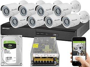 Kit CFTV Hikvision 08 Câmeras THC-B120C-P e DVR de 08 Canais DS-7208 S/ C