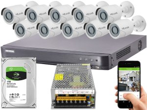 Kit CFTV Hikvision 10 Câmeras THC-B120C-P e DVR de 16 Canais DS-7216 HQHI-K1 S/ C