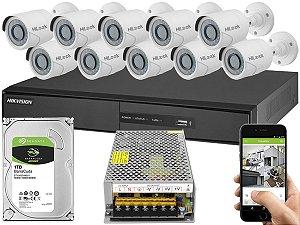 Kit CFTV Hikvision 10 Câmeras THC-B120C-P e DVR de 16 Canais DS-7216 S/ C