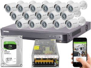 Kit CFTV Hikvision 16 Câmeras THC-B120C-P e DVR de 16 Canais DS-7216 HQHI-K1 S/ C