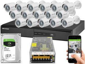 Kit CFTV Hikvision 16 Câmeras THC-B120C-P e DVR de 16 Canais DS-7216 S/ C
