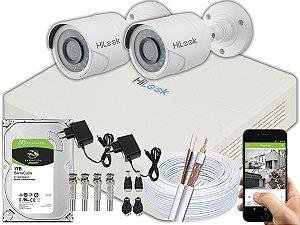 Kit CFTV Hilook 02 Câmeras THC-B120C-P e DVR de 04 Canais DVR-104G-F1 1TB