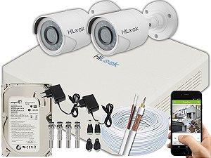Kit CFTV Hilook 02 Câmeras THC-B120C-P e DVR de 04 Canais DVR-104G-F1 500GB