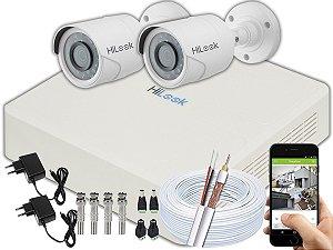 Kit CFTV Hilook 02 Câmeras THC-B120C-P e DVR de 04 Canais DVR-104G-F1 Sem HD
