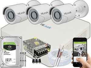 Kit CFTV Hilook 03 Câmeras THC-B120C-P e DVR de 04 Canais DVR-104G-F1 1TB