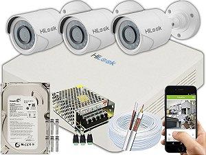 Kit CFTV Hilook 03 Câmeras THC-B120C-P e DVR de 04 Canais DVR-104G-F1 500GB