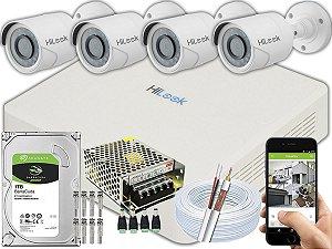 Kit CFTV Hilook 04 Câmeras THC-B120C-P e DVR de 04 Canais DVR-104G-F1