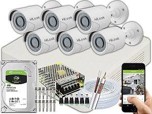 Kit CFTV Hilook 06 Câmeras THC-B120C-P e DVR de 08 Canais DVR-108G-F1