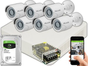 Kit CFTV Hilook 06 Câmeras THC-B120C-P e DVR de 08 Canais DVR-108G-F1 S/ C