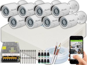 Kit CFTV Hilook 08 Câmeras THC-B120C-P e DVR de 08 Canais DVR-108G-F1 S/ HD