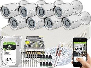 Kit CFTV Hilook 08 Câmeras THC-B120C-P e DVR de 16 Canais DVR-116G-F1