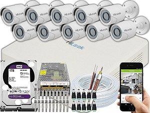 Kit CFTV Hilook 10 Câmeras THC-B120C-P e DVR de 16 Canais DVR-116G-F1 1TB WD Purple