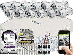 Kit CFTV Hilook 12 Câmeras THC-B120C-P e DVR de 16 Canais DVR-116G-F1 1TB WD Purple