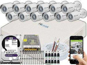 Kit CFTV Hilook 12 Câmeras THC-B120C-P e DVR de 16 Canais DVR-116G-F1 2TB WD Purple
