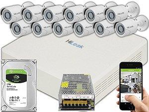 Kit CFTV Hilook 12 Câmeras THC-B120C-P e DVR de 16 Canais DVR-116G-F1 S/ C