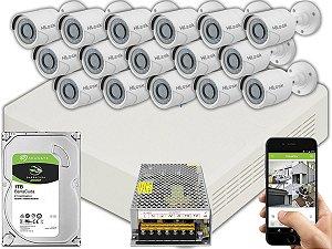 Kit CFTV Hilook 16 Câmeras THC-B120C-P e DVR de 16 Canais DVR-116G-F1 S/ C