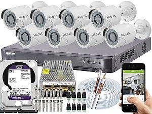 Kit CFTV Hikvision 08 Câmeras THC-B120C-P e DVR de 08 Canais DS-7208 HQHI-K1 2TB WD Purple